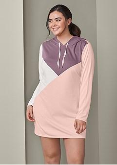 plus size color block lounge dress