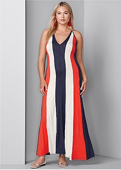 plus size color block maxi dress