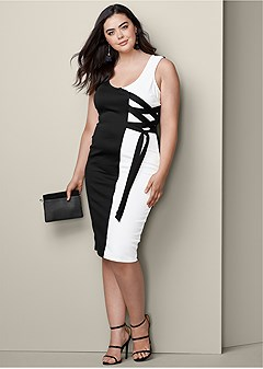 plus size color block lace up dress