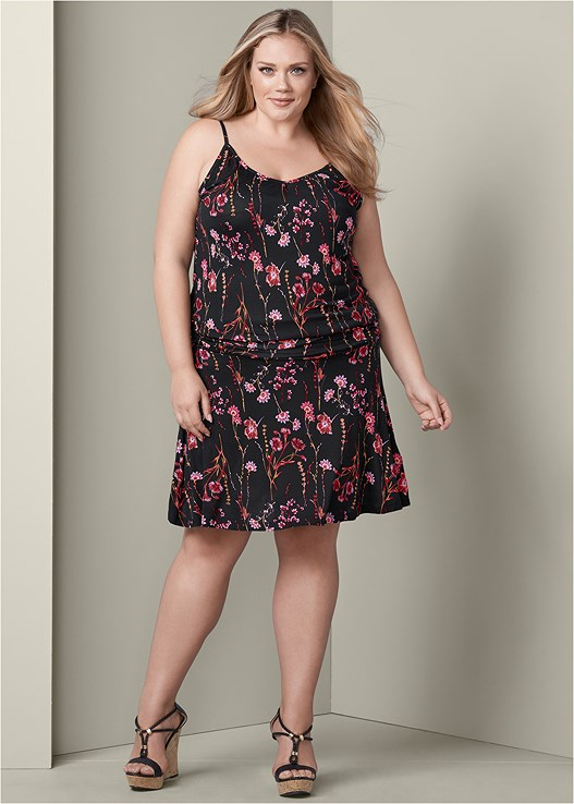 FLORAL TANK DRESS,BRAIDED DETAIL WEDGES