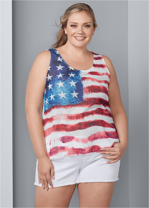 American Flag Tank,Frayed Cut Off Jean Shorts