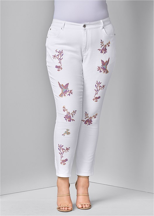 EMBROIDERED JEANS,SEAMLESS CAMI,HIGH HEEL STRAPPY SANDALS