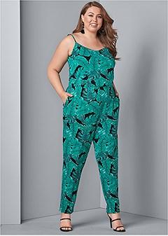 plus size palm leaf printed jumpsuit