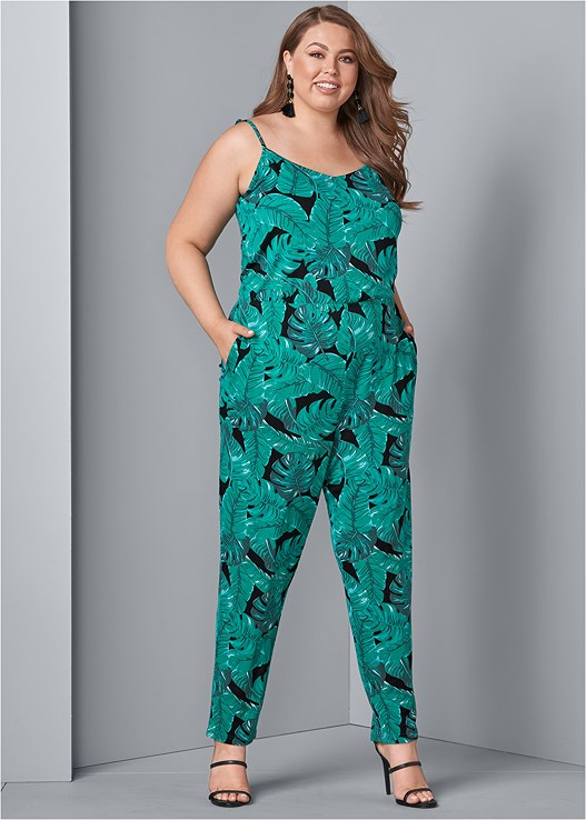 PALM LEAF PRINTED JUMPSUIT,HIGH HEEL STRAPPY SANDALS,BAUBLE FRINGE EARRINGS