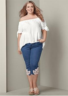 plus size crochet capri jeans