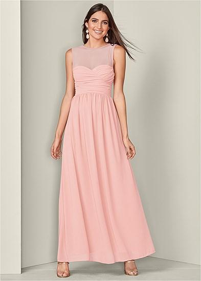 mesh sweetheart long dress