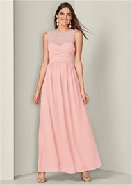 Front View Mesh Sweetheart Long Dress