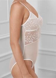 Detail side view Embroidered Mesh Bodysuit