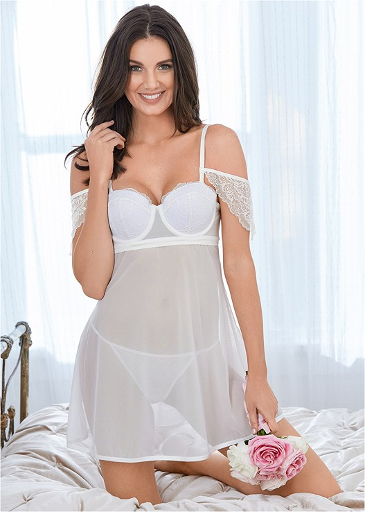 LACE OFF SHOULDER BABYDOLL