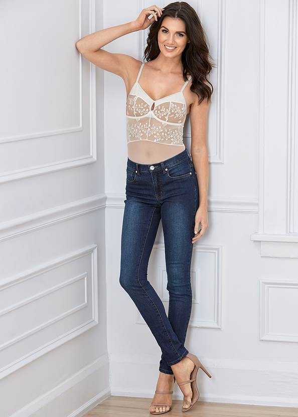 Full front view Embroidered Mesh Bodysuit