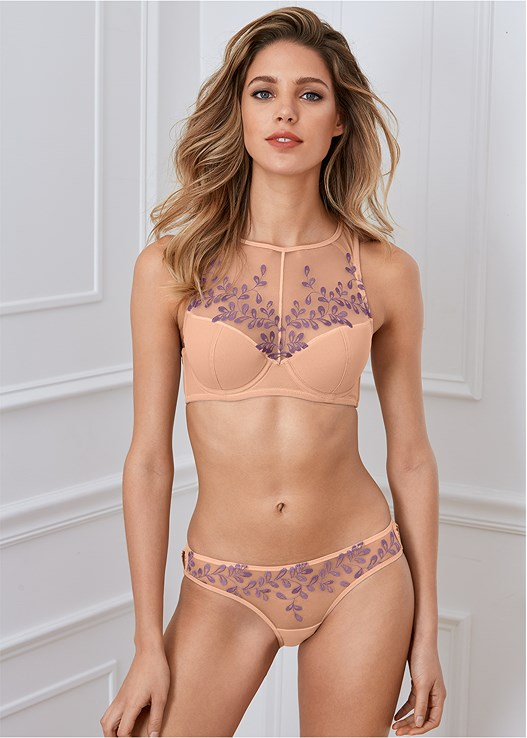 EMBROIDERED MESH PANTIES,EMBROIDERED HIGH NECK BRA