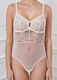 Detail front view Embroidered Mesh Bodysuit
