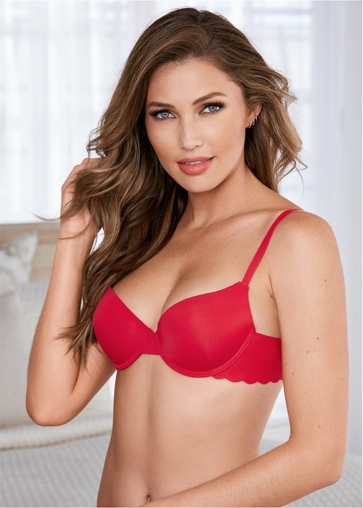 fe80bc4d3d4 SCALLOPED EDGE PUSH UP BRA in Red