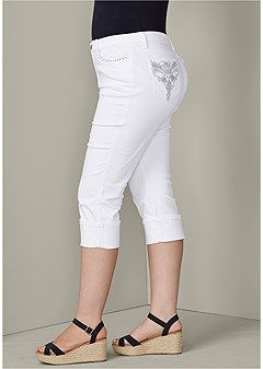 plus size back detail jean capris