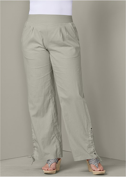 LACE UP DETAIL LINEN PANTS,SEAMLESS CAMI,EMBELLISHED WEDGES
