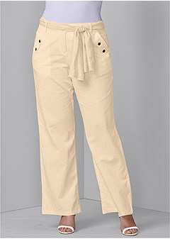 plus size linen belted pants