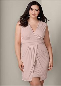 plus size drape detail dress