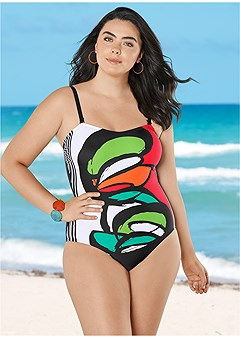 plus size graphic print one-piece