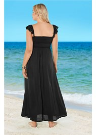 Back View Ruffle Sleeve Maxi Cover-Up