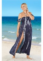 plus size ruffle sleeve maxi cover-up