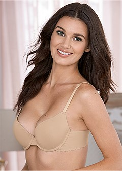 scalloped edge push up bra