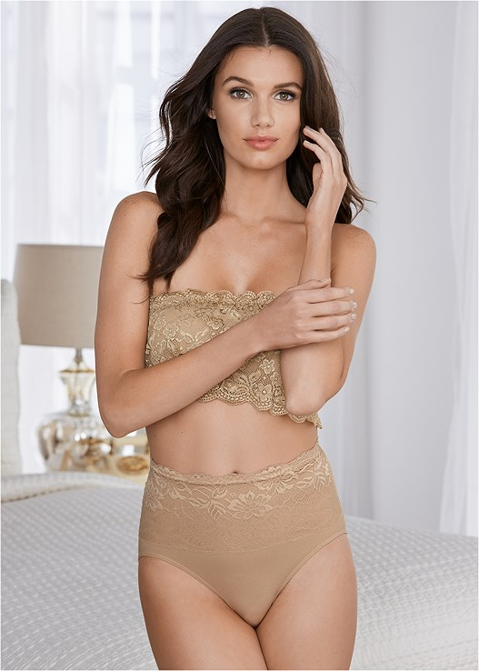SEAMLESS SHAPING BRIEF,NATURAL BEAUTY LACE BANDEAU