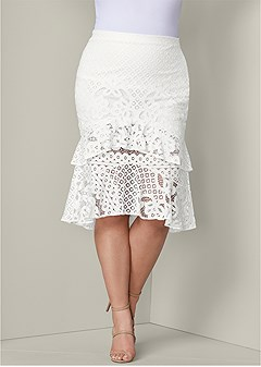 plus size lace ruffle midi skirt