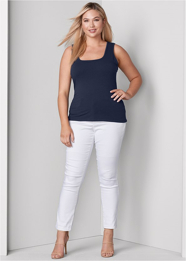 Mid Rise Color Skinny Jeans,Square Neck Tank Top,High Heel Strappy Sandals