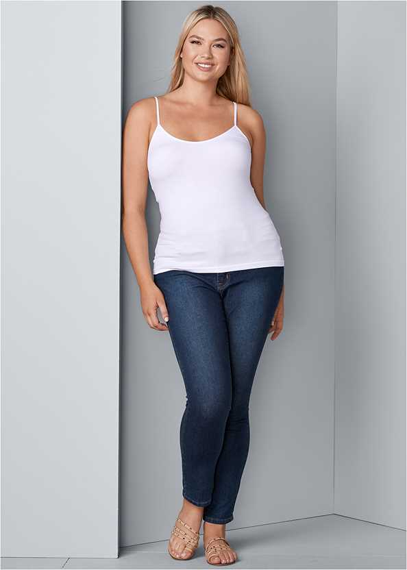 Mid Rise Color Skinny Jeans,Basic Cami Two Pack,Cut Out Sleeve Sweater,High Heel Strappy Sandals,Beaded Drop Earrings