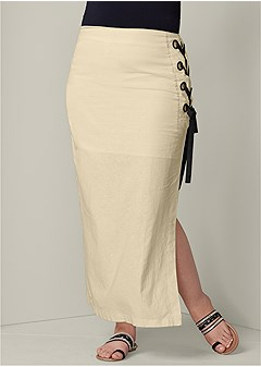 plus size lace up linen maxi skirt