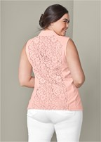 plus size lace detail vest