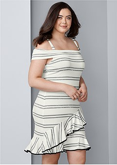 plus size striped ruffle mini dress