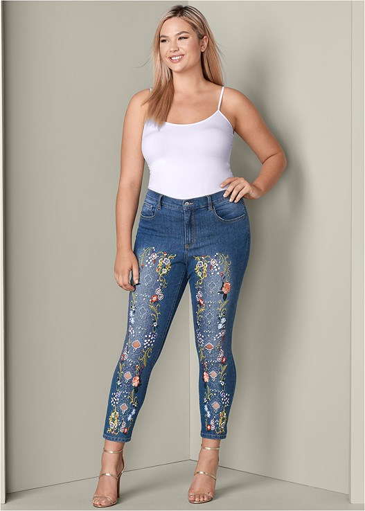 EMBELLISHED JEANS,SEAMLESS CAMI,HIGH HEEL STRAPPY SANDALS