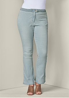 plus size braided waist jeans