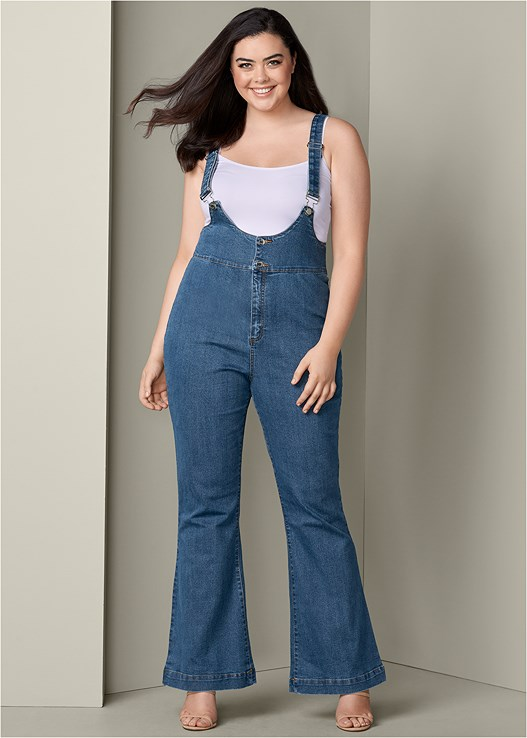 0a4564e62e Plus Size DENIM OVERALLS in Medium Wash