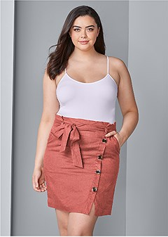 plus size knee length linen skirt