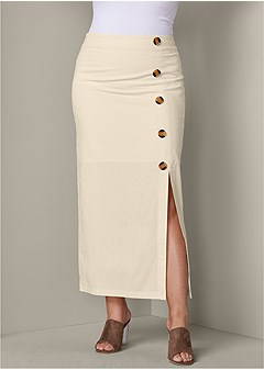 plus size button detail linen skirt