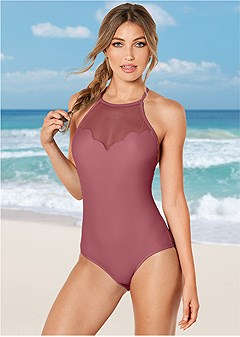scalloped mesh one-piece