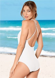 Back View Scalloped Mesh One-Piece