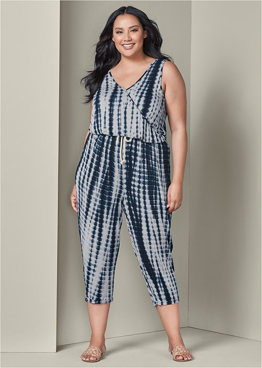 cae4316f6bc Plus Size TIE DYE JUMPSUIT in Blue   White