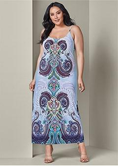 plus size paisley print maxi dress