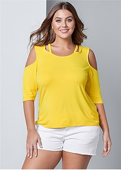 plus size strappy cold shoulder top