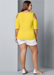 Back View Strappy Cold Shoulder Top