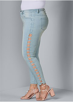 plus size cut out detail jeans