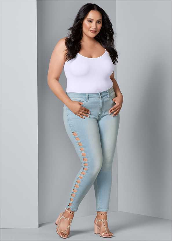 Cut Out Detail Jeans,Basic Cami Two Pack,Transparent Studded Heels
