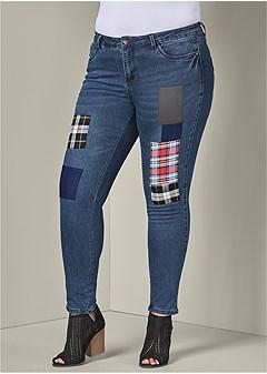 plus size patchwork jeans
