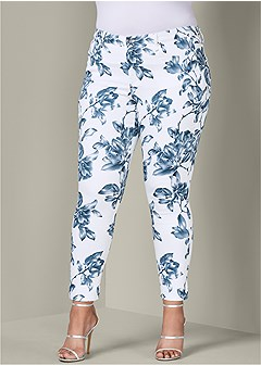 plus size floral print pants