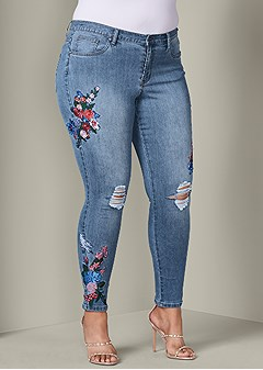 plus size floral embroidered jeans