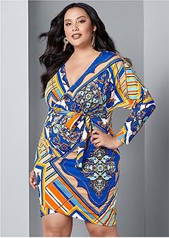 plus size print bodycon dress