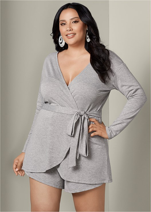 41f3aace207 Plus Size FRENCH TERRY SHORTS ROMPER in Heather Grey ...